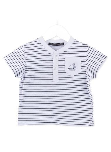 Losan Erkek Bebek Kısa Kol Çizgili Tişört Beyaz